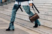 pants,fashion week street style,fashion week 2016,fashion week,paris fashion week 2016,blue pants,velvet,velvet pants,bag,black bag,boots,black boots,streetstyle,flare velvet pants