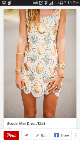 dress the great gatsby shiny shiny dress girl girly sparkly dress gold white turquoise scalloped sequins sequin dress jewels