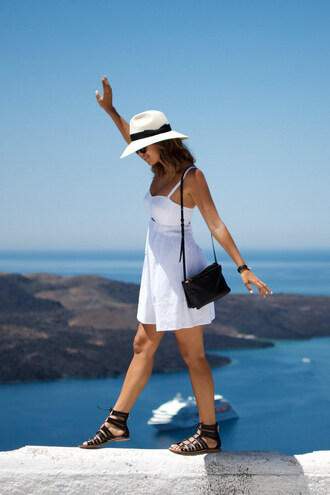a pair and a spare blogger hat flat sandals white dress black sandals