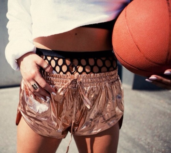 shorts underwear rose sportswear sportluxe shiny metallic gold metallic shorts fish net high rise underwear mesh mesh cool funny hot crop too crop tops cropped basketball texture cool shorts pants gold shorts top crop tops white crop tops cropped hoodie