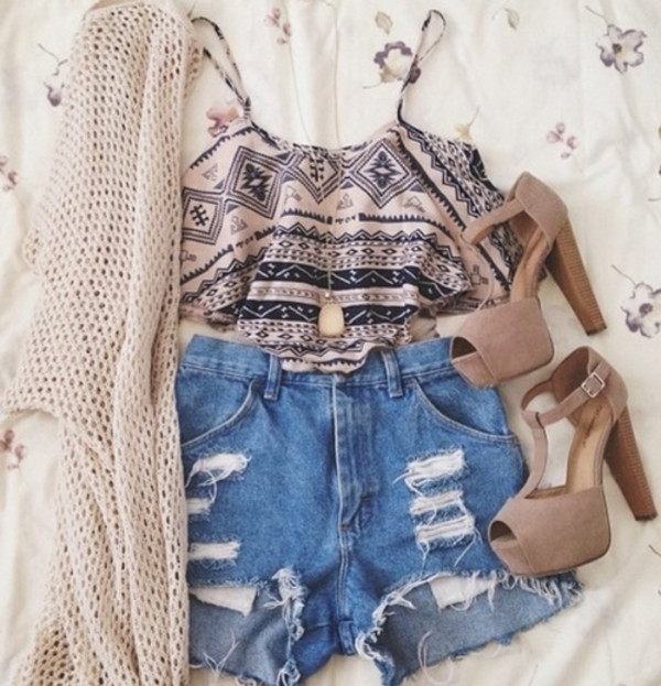 shoes sweater shirt beige aztec high heels knitted cardigan cardigan fall outfits fashion outfit instagram style cute top crop tops shorts blouse tank top