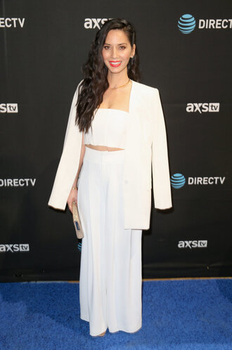 top crop tops pants wide-leg pants olivia munn white