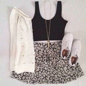 skirt,jewels,tank top,sweater,shoes,outfit,vintage dress,black crop top,topshop,blouse,necklace,cardigan,top,keds