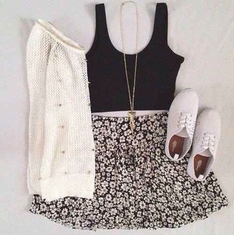 skirt jewels tank top sweater shoes outfit vintage dress black crop top topshop necklace cardigan keds