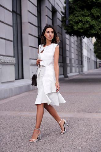 viva luxury blogger classy vest white skirt sandals