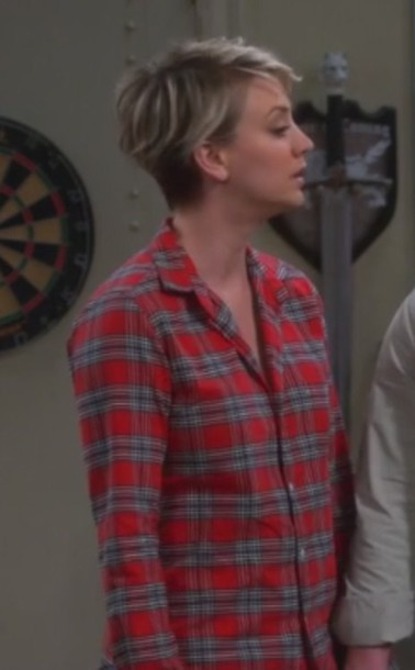 shirt penny plaid big bang theory kaley cuoco red and blue