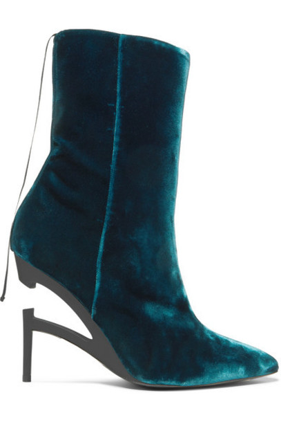 Unravel Project - Velvet Ankle Boots - Green
