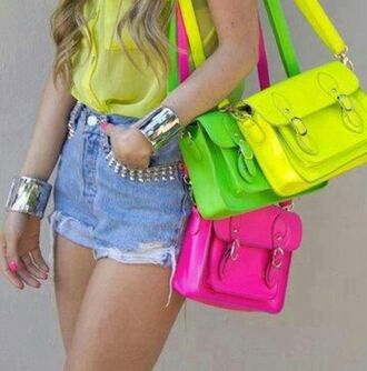 bag purse neon yellow buckles over the shoulder