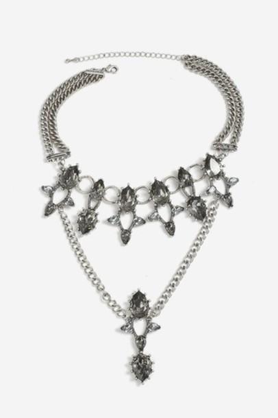 Topshop collar necklace necklace grey jewels