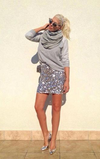 skirt sequins grey all grey everything jelena karleusa