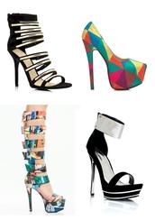 shoes,platform shoes,spike heel,heel,heels,stilettos,high heels,sexy,vampy,trashy,edgy,metallic,metal,print,graphic tee,multicolor,pop art,sandals,pumps,gladiators,trendy,glamour,black,suede,velvet
