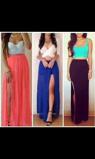 skirt crop tops slit skirt