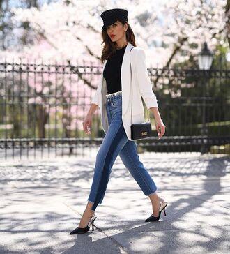jacket blazer white blazer jeans denim high wasted denim jeans black top black bag black heels pointed toe pumps black hat hat shoes