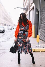 dress,tumblr,midi dress,floral,floral dress,belted dress,orange,shirt,ruffle,ruffle shirt,bag,black bag,boots,black boots,ankle boots,tights,opaque tights
