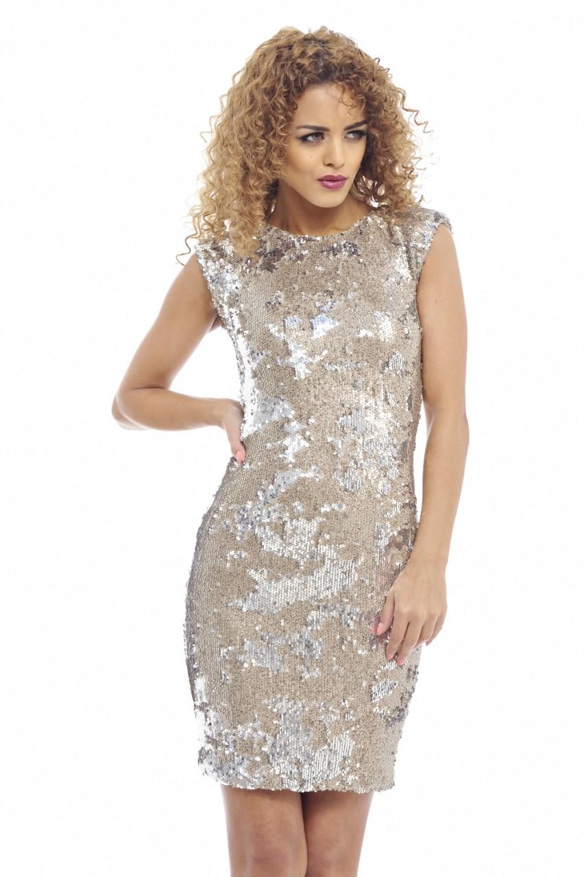 Gold Metallic Sequin Bodycon Dress