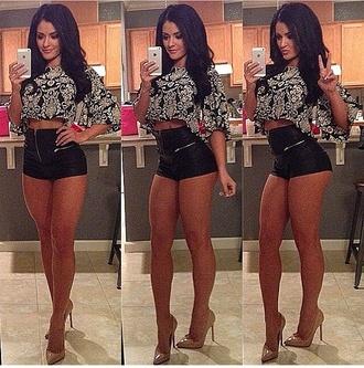 shorts top leather shorts clubwear zip black bad girls club shirt crop tops cute top high waisted shorts