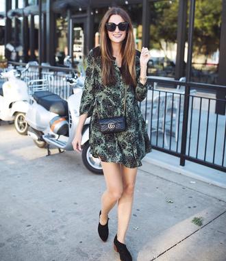 dress tumblr mini dress green dress long sleeves long sleeve dress boots black boots ankle boots sunglasses bag mini bag