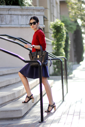 fake leather sweater skirt sunglasses shoes jewels classy