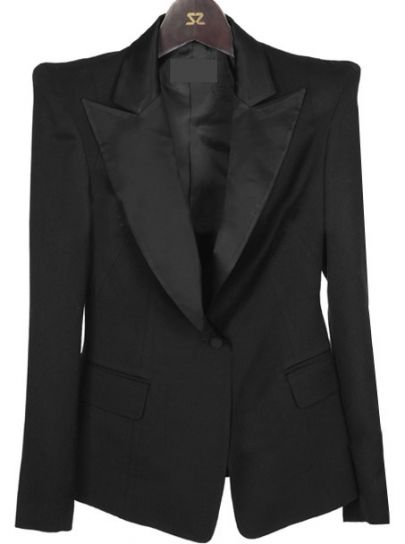 Black Notch Lapel Long Sleeve Single Button Suit - Sheinside.com