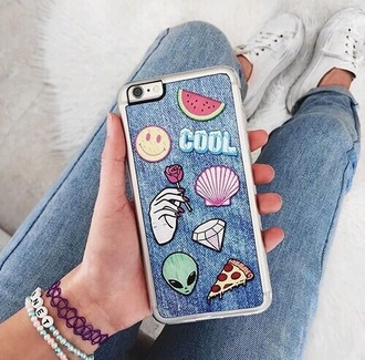 phone cover denim case grunge iphone case alien fruits watermelon print smiley shell diamonds patch denim blue iphone cover