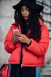 jacket,tumblr,red jacket,streetstyle,puffer jacket,backpack,red backpack,floppy hat,hat,black hat,box braids