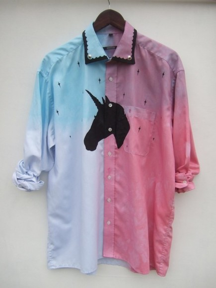 cross blouse vintage unicorn tie and dye psychedelic