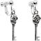 Skull skeleton key clip on earrings
