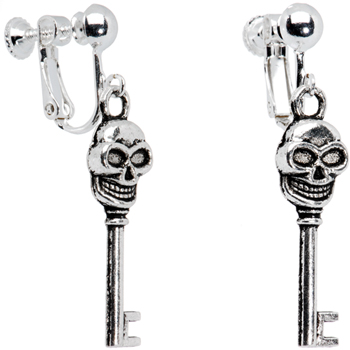Skull Skeleton Key Clip On Earrings | Body Candy Body Jewelry