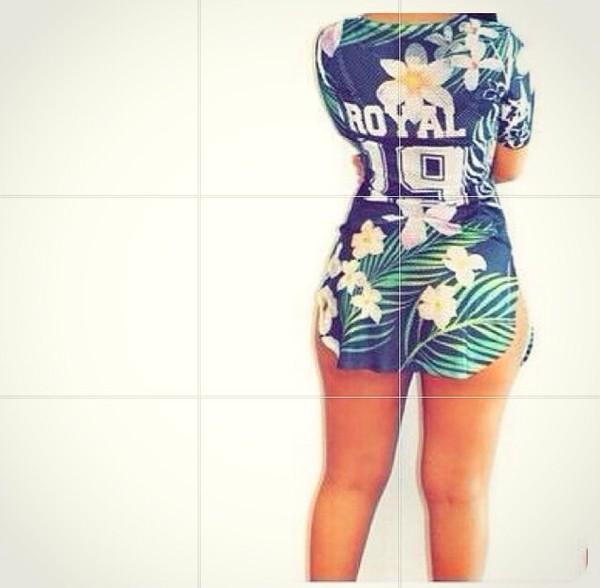 t-shirt jersey tee shirt tropical royal
