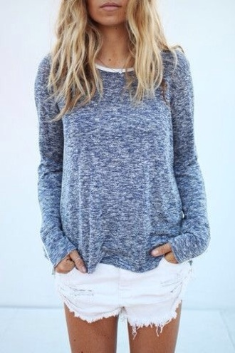 top blue long sleeved long sleeves white neckline