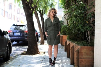 broke hell blogger dress army green