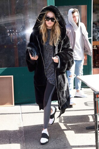 leggings coat hoodie sunglasses gigi hadid model off-duty purse sneakers shoes gigi hadid leggings
