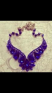 jewels,royal blue,necklace,dress,deep blue necklace