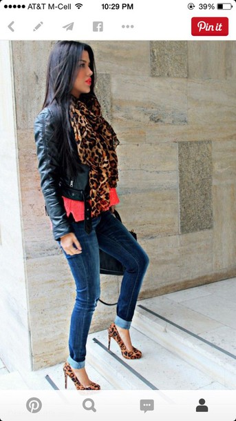 scarf leopard print red leather jacket jeans