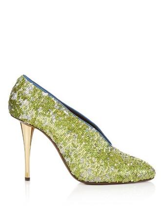 embellished pumps green shoes
