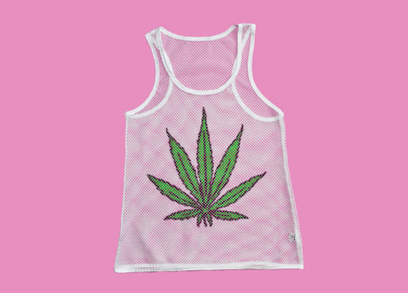 see through tank top maryjane ganja white green vest top weed print festival summer cut out netted netting criss cross weed shirt