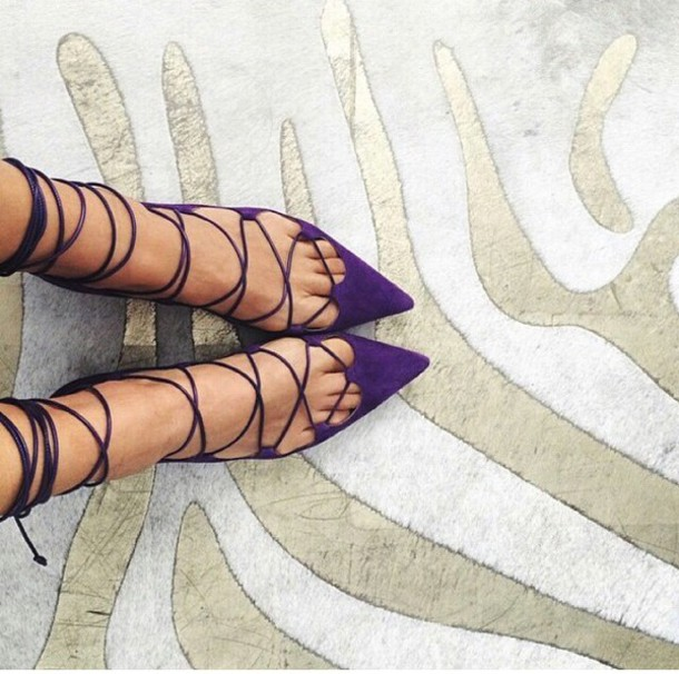 shoes cute purple strappy flats