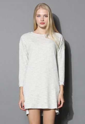 dress basic textured cotton dress in sand chicwish sand