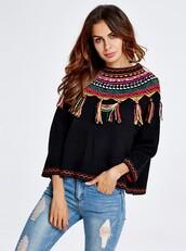 sweater,black,black sweater,ethnic,ethnic style,loose,short loose sweater,loose sweater,vintage pullover,pull-over,pullover,loose pullover,fashion,vintage,vintage sweater,women watches