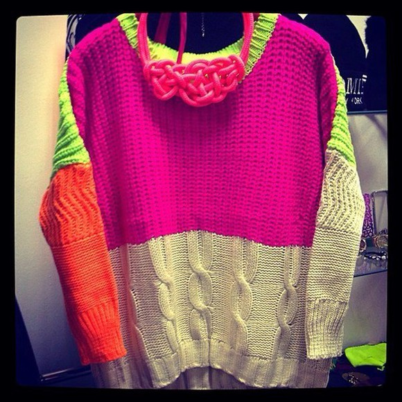 sweater color block color block sweater color block sweatshirt neon neon sweater