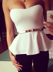 blouse,white top,outerwear,night outfit,white and gold,sexy shirt,holidays,t-shirt,tank top,clothes,white tank top,top,party,belt,gold belt,bustier,white bustier,peplum top,shirt,peplum,jeans,white blouse,girly,fashion,white,white shirt,peplun,strapless top,strapless,pretty,gold,skirt,nail polish,cute,black,white peplum top,white summer top,metal gold belt,classy,boob tube,flared white top,flare,crop tops,boobs,trendy,sleeveless,sleveless top,bodycon,white sleeveless top,style,boho,sexy,tumblr,cool,dope,pink blouse