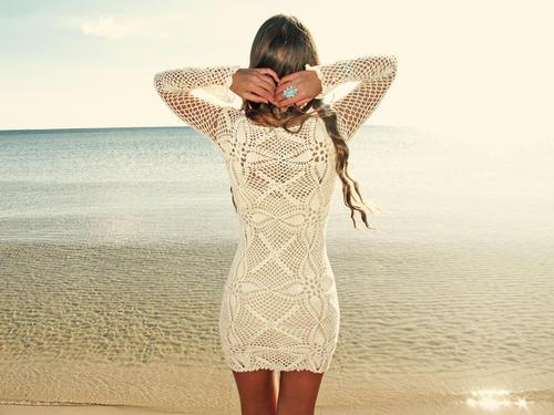 emmaoclothing - Handmade crochet long sleeve dress BEIGE