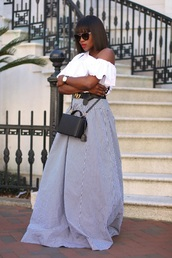 skirt,maxi skirt,gingham skirt,belt,gucci belt,one shoulder blouse,ruffle blouse,blogger,blogger style,crossbody bag