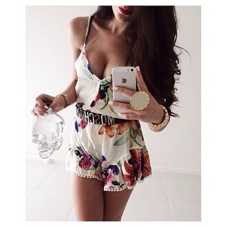 romper floral pink flowers spaghetti strap