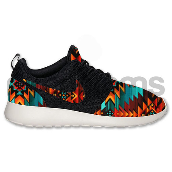 Nike roshe run black anthracite tribal aztec v2 by nycustoms