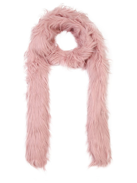 CHARLOTTE SIMONE Double Trouble Faux Fur Long Scarf in pink