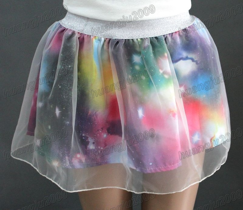 Hot fresh lady gauze cosmic galaxy print fashion tutu skirts mini dress