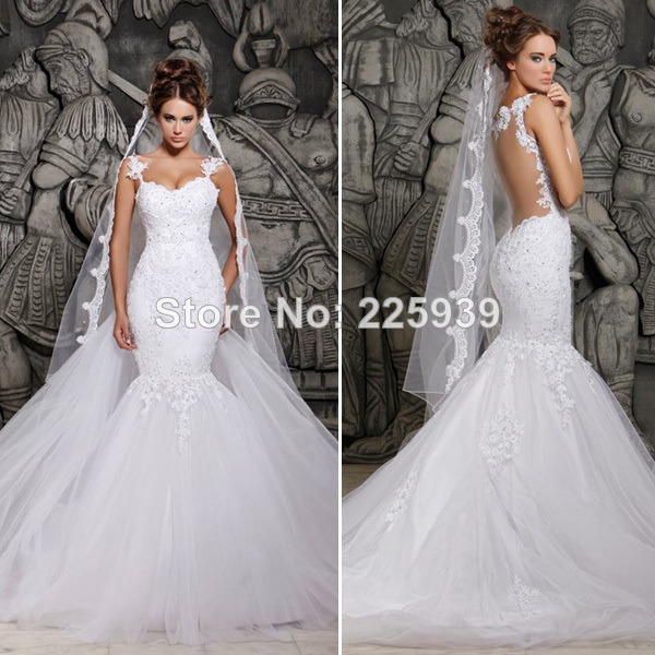 Aliexpress.com : Buy 2014 Hassan Mazeh Sweetheart Cap Sleeves Open Back Lace Tulle Mermaid Wedding Dresses Backless New Detachable Train Dresses from Reliable dress test suppliers on Tracy Me