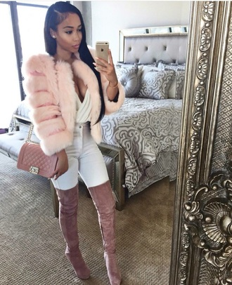 coat pink fur cute bomb outfit boots fashion trendy fur coat shoes thigh high boots rose suede boots high heels boots high heels pink high heels