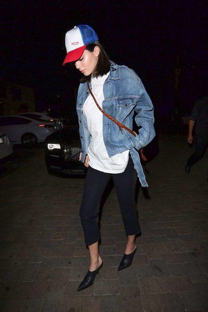 jacket denim jacket denim top kendall jenner streetstyle model off-duty fall outfits